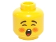 Part No: 3626cpb1440  Name: Minifigure, Head Rosy Cheeks, Open Mouth, Black Eyebrows Pattern (Caroler) - Hollow Stud