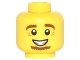 Part No: 3626cpb1482  Name: Minifigure, Head Brown Eyebrows and Goatee, White Pupils, Crow's Feet, Smile with Teeth Pattern - Hollow Stud