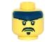 Part No: 3626cpb1483  Name: Minifigure, Head Dark Blue Headband, White Pupils, Black Moustache and Goatee Pattern - Hollow Stud