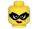 Part No: 3626cpb1494  Name: Minifigure, Head Female Black Eye Mask, Beauty Mark, Red Lips with Smirk Pattern - Hollow Stud