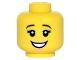 Part No: 3626cpb1497  Name: Minifigure, Head Female with Brown Downturned Eyebrows, Eyelashes, Open Smile with Pink Lips Pattern - Hollow Stud