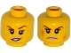 Part No: 3626cpb1503  Name: Minifigure, Head Dual Sided Female Dark Red Eyebrows, Pink Lips, Frown, Scratches / Eyebrow Raised, Chipped Toothed Smirk Pattern - Hollow Stud