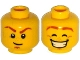 Part No: 3626cpb1504  Name: Minifigure, Head Dual Sided Dark Orange Eyebrows with Scar, Goatee, Freckles, Determined / Smile with Teeth, Eyes Closed Pattern - Hollow Stud