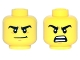 Part No: 3626cpb1509  Name: Minifigure, Head Dual Sided Black Thick Eyebrows, White Pupils, Orange Chin Dimple, Crooked Smile / Open Mouth Angry Pattern - Hollow Stud