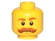 Part No: 3626cpb1564  Name: Minifigure, Head Moustache Brown Bushy Curled, Brown Eyebrows, White Pupils Pattern - Hollow Stud