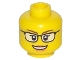 Part No: 3626cpb1567  Name: Minifig, Head Female Glasses Black, Brown Eyebrows, Open Mouth Smile with Peach Lips Pattern - Stud Recessed
