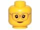 Part No: 3626cpb1568  Name: Minifigure, Head Female Glasses Dark Tan, Gray Eyebrows, Crow's Feet, Peach Lips Pattern - Hollow Stud