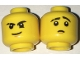 Part No: 3626cpb1661  Name: Minifigure, Head Dual Sided Black Eyebrows (one Scarred), White Pupils, Brown Chin Dimple, Firm Grin / Worried Pattern - Hollow Stud