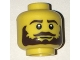 Part No: 3626cpb1679  Name: Minifigure, Head Beard Dark Brown Bushy, Moustache, White Pupils Pattern - Hollow Stud