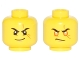 Part No: 3626cpb1760  Name: Minifigure, Head Dual Sided Black Eyebrows, Scar Across Left Eye, Smirk / Orange Rimmed Eyes, Gold Pupils, Scowl Pattern - Hollow Stud