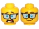 Part No: 3626cpb1841  Name: Minifigure, Head Dual Sided Blue Tinted Glasses, Dark Brown Eyebrows, Shocked / Smile Pattern - Hollow Stud