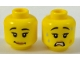 Part No: 3626cpb1842  Name: Minifigure, Head Dual Sided Female Black Eyebrows, Eyelashes, Peach Lips, Lopsided Smile  / Scared Open Mouth with Teeth Pattern - Hollow Stud