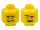 Part No: 3626cpb1890  Name: Minifigure, Head Dual Sided Reddish Brown Eyebrows, Green Eyes, Lopsided Open Mouth Grin / Gritted Teeth Pattern (Lloyd) - Hollow Stud