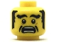 Part No: 3626cpb2030  Name: Minifigure, Head Black Eyebrows, Sideburns and Cheek Lines, Open Mouth Scared Pattern - Hollow Stud