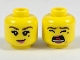 Part No: 3626cpb2073  Name: Minifigure, Head Dual Sided Female, Brown Eyebrows, Black Beauty Mark, Smile / Screaming Pattern - Hollow Stud
