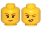 Part No: 3626cpb2145  Name: Minifigure, Head Dual Sided Female Reddish Brown Eyebrows, Medium Dark Flesh Freckles and Lips, Small Smirk / Left Eye Squinted Pattern - Hollow Stud
