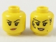 Part No: 3626cpb2147  Name: Minifigure, Head Dual Sided Female Black Eyebrows, Peach Lips, Smirk / Smile with Dark Bluish Gray Mud Splotches Pattern - Hollow Stud