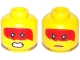 Part No: 3626cpb2234  Name: Minifigure, Head Dual Sided Red Hair with Open Mouth with Teeth, Grimace / Frown with Peach Lips Pattern (Harumi) - Hollow Stud