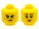 Part No: 3626cpb2249  Name: Minifigure, Head Dual Sided Female Black Eyebrows, Beauty Mark, Dark Tan Lips, Crooked Smile / Open Mouth Smile Pattern - Hollow Stud