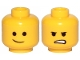 Part No: 3626cpb2287  Name: Minifigure, Head Dual Sided Lopsided Smile / Angry Pattern (Emmet) - Hollow Stud