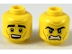 Part No: 3626cpb2316  Name: Minifigure, Head Dual Sided, Black Thick Eyebrows, Medium Dark Flesh Brow Furrows and Cheek Lines, Surprised / Angry Pattern - Hollow Stud