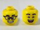 Part No: 3626cpb2323  Name: Minifigure, Head Dual Sided, Black Eyebrows, Black Glasses and Smile with Teeth / Raised Eyebrows and Open Mouth Smile Pattern - Hollow Stud