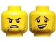 Part No: 3626cpb2331  Name: Minifigure, Head Dual Sided Male Black Stubble, Black Eyebrows, Sheepish Smile / Open Mouth Frown Pattern - Hollow Stud