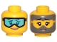 Part No: 3626cpb2387  Name: Minifigure, Head Dual Sided Female Light Blue Goggles, Orange Lips, Smile / Covered with Dirt, Goggles Outline Pattern - Hollow Stud