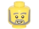 Part No: 3626cpx288  Name: Minifigure, Head Beard with Thick Gray Eyebrows, Angular Beard, Open White Mouth, White Pupils Pattern - Hollow Stud