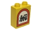 Part No: 4066pb013  Name: Duplo, Brick 1 x 2 x 2 with Road Sign Train Pattern