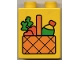 Part No: 4066pb030  Name: Duplo, Brick 1 x 2 x 2 with Picnic Basket with Carrots and Drink Pattern