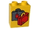 Part No: 4066pb078  Name: Duplo, Brick 1 x 2 x 2 with Suitcases Red and Dark Gray Pattern