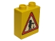 Part No: 4066pb135  Name: Duplo, Brick 1 x 2 x 2 with Road Sign Construction Worker Pattern