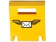 Part No: 4346pb33  Name: Container, Box 2 x 2 x 2 Door with Slot and Envelope with Wings on Yellow Background Pattern (Sticker) - Set 60100