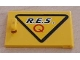 Part No: 4533pb002R  Name: Container, Cupboard 2 x 3 x 2 Door with Black 'R.E.S.' and Red 'Q' on Yellow Triangle with Black Border Pattern, Handle Right (Sticker) - Set 6462