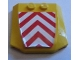 Part No: 45677pb079  Name: Wedge 4 x 4 x 2/3 Triple Curved with Red and White Danger Chevrons Pattern (Sticker) - Set 7747