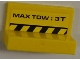 Part No: 4865pb043  Name: Panel 1 x 2 x 1 with 'MAX TOW: 3T' and Yellow and Black Danger Stripes Pattern on Inside (Sticker) - Set 8186
