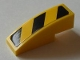 Part No: 50950pb050L  Name: Slope, Curved 3 x 1 No Studs with Black and Yellow Danger Stripes Pattern, Model Left (Sticker) - Set 8043