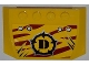 Part No: 52031pb043  Name: Wedge 4 x 6 x 2/3 Triple Curved with 4 Rivets, Wide Claw Scratch Marks and Dino Logo on Dark Red Tiger Stripes Pattern (Sticker) - Set 5884