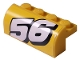 Part No: 6081pb018L  Name: Brick, Modified 2 x 4 x 1 1/3 with Curved Top with White Number 56 Pattern Model Left (Sticker) - Set 8183