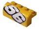 Part No: 6081pb018R  Name: Brick, Modified 2 x 4 x 1 1/3 with Curved Top with White Number 56 Pattern Model Right (Sticker) - Set 8183