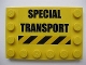 Part No: 6180pb033  Name: Tile, Modified 4 x 6 with Studs on Edges with 'SPECIAL TRANSPORT' and Black and Yellow Danger Stripes Pattern (Sticker) - Set 7249