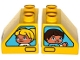 Part No: 6474pb37  Name: Duplo, Brick 2 x 2 Slope 45 with Window with Boy / Girl Pattern
