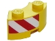 Part No: 85080pb02L  Name: Brick, Round Corner 2 x 2 Macaroni with Stud Notch and Reinforced Underside with Red and White Danger Stripes on Left Pattern (Sticker) - Set 60152