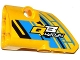 Part No: 87080pb021  Name: Technic, Panel Fairing # 1 Small Smooth Short, Side A with 'QB 42034' on Blue, Yellow and Black Background Pattern (Sticker) - Set 42034