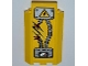Part No: 87421pb009  Name: Panel 3 x 3 x 6 Corner Wall without Bottom Indentations with Electricity Danger Sign, 1 Ripped Cable, 'DANGER' and Gauge Pattern (Sticker) - Set 5887