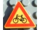 Part No: 892pb006  Name: Road Sign Clip-on 2 x 2 Triangle with Bicycle Crossing Pattern