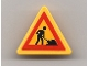 Part No: 892pb013  Name: Road Sign Clip-on 2 x 2 Triangle with Worker and 1 Pile Pattern (Sticker) - Set 7905