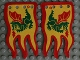 Part No: x376px1a  Name: Cloth Flag 8 x 5 Wave with Red Border and Green Dragon Pattern - Double-Sided Print