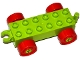 Part No: 11248c02  Name: Duplo Car Base 2 x 6 with Red Wheels with Fake Bolts and Open Hitch End